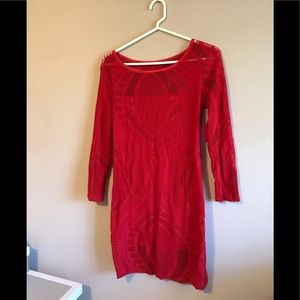 New lace tide red dress